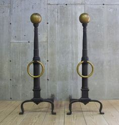 """Pair of Monumental Iron Andirons with Bronze Details  48""""H x 33""""D x 17.75""""W"""