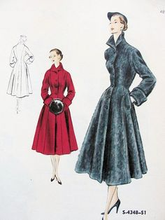 1950s princess-style coat. I like the nipped in waist and turn-up collar. It's a nice alternative to a trench coat.