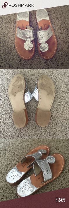 Jack Rogers Navajo Sandals size 5 Jack Rogers Navajo Sandals in silver size 5! Worn twice. Please look at pics for details! Jack Rogers Shoes Sandals