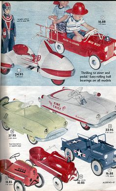 Pedal Cars from the Alden's Christmas Catalog, 1953 Vintage Advertisements, Vintage Ads, Vintage Images, Vintage Photographs, Car Jokes, Photo Vintage, Baby Boomer, Retro Toys, 1950s Toys