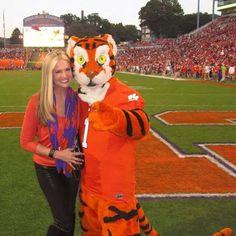 Nancy O'Dell (Entertainment Tonight host) along with a Clemson mascot. She's a Clemson alumni!