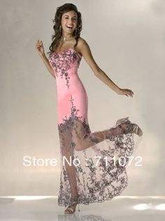 2013-New-Unique-Sheath-Sweetheart-Satin-Lace-Embroidery-Pink-And-Black-Sexy-Prom-Dress.jpg (303×405) aliexpress.com $149.00
