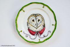 Barn Owl - Single Hand Painted Plate by RKArtwork  $24.  Oooh, so pretty!!