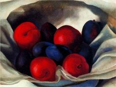 Artist: Georgia O'Keeffe, 1887-1986 American Precisionist, Realist Master Artist. Plums. 1920. Painting. Style: Precisionism
