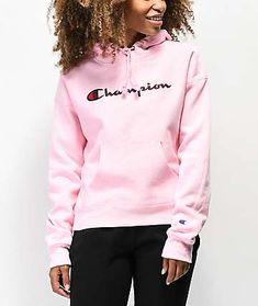 c1b74140f4 Champion Reverse Weave Chenille Logo Pink Hoodie Pink Champion Sweatshirt
