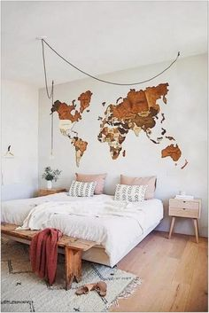 69 Best Bohemian Bedroom Ideas For Your First Apartment 27 - fancyhomedecors #bohemianbedroom#bedroom#bedroomideas Wood World Map, World Map Wall Art, Wall Maps, World Map Bedroom, World Map Decor, Wall Appliques, Wooden Map, Bedroom Decor, Wall Decor
