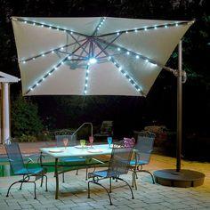 Santorini II Fiesta 10 Foot Square Cantilever Umbrella (Beige), Brown  (Aluminum) #NU6245