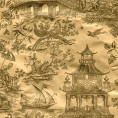 Caspari  Gold Foil Chinoiserie Toile Gift Wrap Roll  Price: $6.50 | Visit Store »  Uploaded by Beth Connolly  Use this elegant gold foil chinoiserie toile gift wrap to wrap your holiday gifts with chinoiserie style.