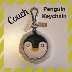 NWT  COACH Penguin Keychain Coach Penguin w/ Shearling Trim.  Cute leather penguin face!!!!   Priced to sell!!! Coach Accessories Key & Card Holders