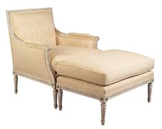 Louis J Solomon Louis XVI Bergere & Ottoman Louis Xvi, Solomon, Accent Chairs, Ottoman, Traditional Styles, Furniture, Home Decor, Upholstered Chairs, Decoration Home