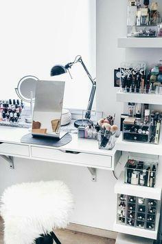 My new make-up corner including practical cosmetics storage! - New room inspo - Make-Up My New Room, My Room, Sala Glam, Rangement Makeup, Rangement Diy, Vanity Room, Vanity In Closet, Glam Room, Makeup Rooms