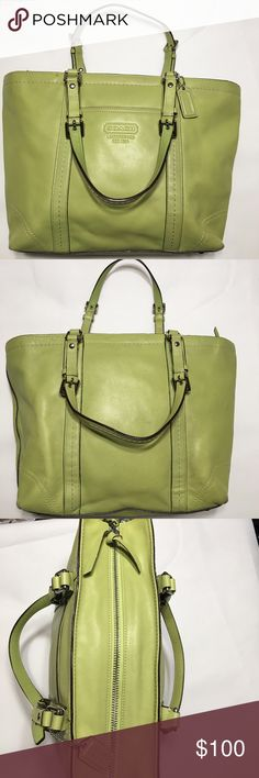 COACH LIME GREEN Leather East West Gallery Tote Rare Lime Green Coach Smooth Leather with Silver Hardware A0959-F13098  Detail stitches, adjustable double handles w/nickle buckles Coach Hand Tag, 2 Inside Slip Pockets, 1 Inside Zipped Pocket, Zipper closure. Interior lining is the same color as the outside.  A D-Clip allows for hooking a key chain. Preloved but in exceptional condition. Note the wear on the bottom of the bag and other areas depicted in the photos carefully. Please ask any…