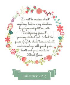 Printable Floral Wreath Philippians 4:6-7 by ComeAndRestHere on Etsy, $5.00
