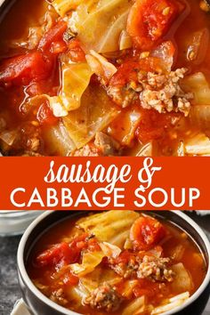 Sausage & Cabbage Soup - This low carb soup is easy to make and tastes delish! It's comfort food perfect for a cold winter's day. Low Carb Soup Recipes, Cabbage Soup Recipes, Cabbage Soup Diet, Chili Recipes, Healthy Recipes, Potato Recipes, Dinner Recipes, Healthy Soups, Vegetarian Recipes