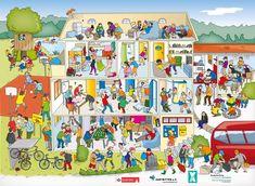 Wimmelbild Jugendherberge mit Stadt Köln Logo – Sichere Orte schaffen Sichere Orte schaffen