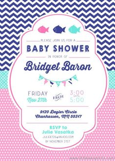 Fish Baby Shower Invitation by LittleLawsPrints on Etsy