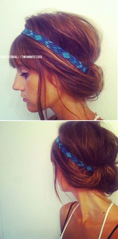 This is probably one of the fastest hair styles! Just 1-2-3 easy steps. 1 // Put on headband on top of hair 2 // Grab all the hair at the ends 3 // Tuck the ends into the headband, rolling them in until secure. This style is super similar to Tegans hippie style for growing out bangs, check it out! treasuresandtravels - Blog