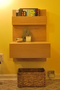 Another way of installing IKEA MALM floating nightstand in the home! Floating Nightstand Ikea, Floating Desk, Diy Nightstand, Floating Shelves, Painting Ikea Furniture, Diy Furniture, Ikea Side Table, Side Table Makeover, Decoration
