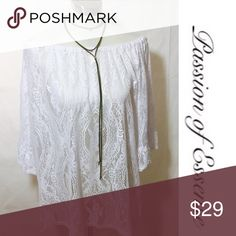 New Arrivals Off The Shoulder Lace Tunic Top [P] Emma Rose White Lace top with kimono sleeve, oversize Tunic with optional off the shoulder wear. Emma Rose Tops Tunics