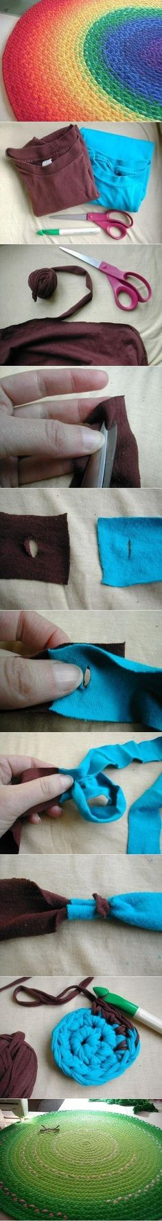 DIY Old T-Shirt rug. I am so gonna try this!