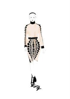 Fashion illustration - chic spotted dress drawing; fashion sketch // Spiros Halaris