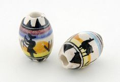 £2.00 x 10 fair trade beads -oval and glazed and hand painted in Peru-just look at the awesome detail.....