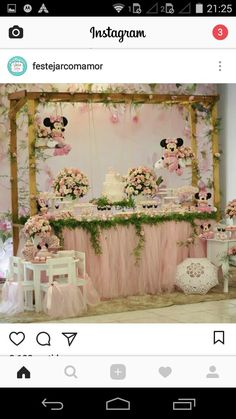 Image may contain: wedding and indoor Minie Mouse Party, Minnie Mouse Theme Party, Minnie Mouse Birthday Decorations, Minnie Mouse First Birthday, Minnie Mouse Baby Shower, Minnie Mouse Pink, Mickey Party, Girl Birthday, Minnie Princess