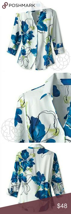 """Coldwater Creek Floral Print Shirt 🎉HP🎉 Beautiful White & Blue Floral Print Shirt.  ▪ CWC Size Small = Size 6 - 8  ▪ Bust: 39"""" inches  ⚠ All measurements are approximate  💥 Brand New with Tag. Never Worn   ✋ All Sales Final 