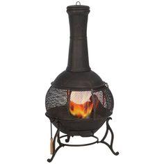 Hampton Bay Outdoor Fireplace Fire Pit Cast Iron Chiminea Patio Garden Heater #HamptonBay