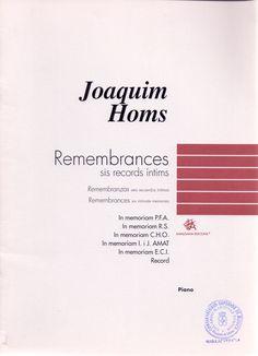 HOMS, Joaquim. Remembrances. Sis records íntims. Berga: Amalgama Edicions. 2000