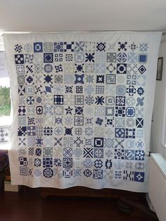 DEAR JANE quilt done in blue and white