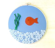 Fish Bowl // Embroidery Hoop // applique by PlanetSeymour on Etsy, $20.00