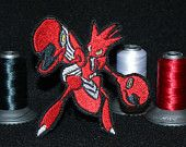 Scizor - Iron on patch - Shiny Metallic Embroidered.   Pokemon patch.