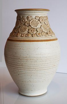 A little background on Wishon-Harrell Pottery: James Wishon threw the ware and Jerry Harrell did much of the glaze decoration. In Wishon and Harrell began their partnership as Wishon-Harrell Pottery. Slab Pottery, Pottery Wheel, Pottery Vase, Ceramic Pottery, Beginner Pottery, Pottery Designs, Pottery Ideas, Pottery Supplies, Keramik Vase