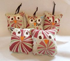 Owl Christmas Ornaments Set Of Five  Stuffed Owl by bungalowquilts