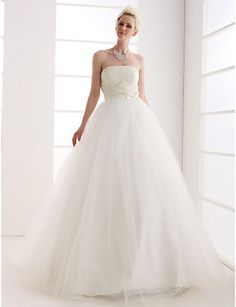 Ball Gown Strapless Natural Floor-length Sleeveless Zipper Tulle Glamorous Dramatic Hall Wedding Dress #168976(More color option)