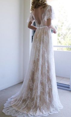 Romantic Half Sleeve Wedding Dresses,A-line Wedding Gown,White V-Neck Lace Wedding Dresses,Long Wedding Dress with Open Back