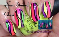 Neon Stained Glass Nails #nails #nailart #naildesign #neonnails #neon #stainedglass #tutorial #acrylic #nailartbykathleen #nailswag #notd #freehand