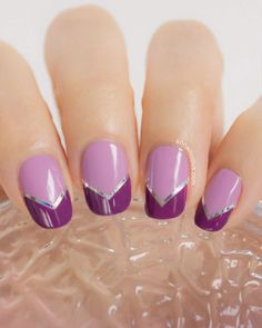 """Want your hands to look a little slimmer? Try this elongating design that draws the eye towards the tips of your fingers. You might call this look a """"French chevron."""" Click through for the tutorial and more fall nail art ideas."""
