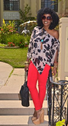 Leopard Print Blouse + Red Skinny Jeans