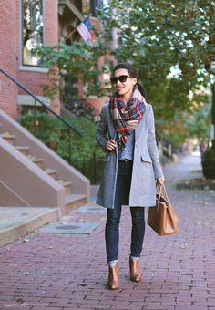 Multi Plaid Oversize Scarf   Grey Coat   Denim Shirt   Dark Jeans   Ankle Bootie And Leather Handbag