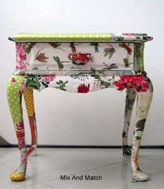 whimsical, colorful mix and match hand-painted furniture table