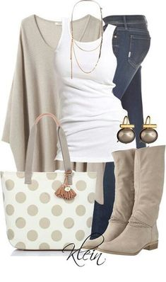 """Brahmin Frankie Polka Dot Tote""- love the soft neutrals of this outfit! Very casual Komplette Outfits, Casual Outfits, Fashion Outfits, Casual Boots, Dress Casual, Fashion Ideas, Casual Jeans, Fashion Trends, Ladies Outfits"