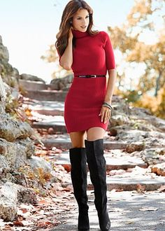 Shop this look on Lookastic:  http://lookastic.com/women/looks/red-sweater-dress-black-leather-belt-black-suede-over-the-knee-boots/6732  — Red Sweater Dress  — Black Leather Belt  — Black Suede Over The Knee Boots