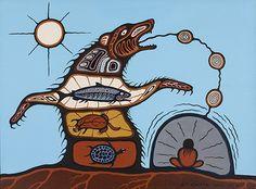 Carl Ray, Medicine Bear, acrylic on canvas, collection of Sunita D. Doobay - (c) Estate Carl Ray - Photo Credit: Don Hall Native American Artists, Canadian Artists, Kunst Der Aborigines, Native Canadian, Aboriginal Artists, Aboriginal Education, Spirited Art, Indian Artist, Indigenous Art