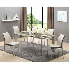 Stylefy seating group Arabis made of brown glass + 6 chairs-Stylefy Sitzgruppe Arabis aus Glas Braun + 6 Stühle Stylefy seating group Arabis made of brown glass + 6 chairs - Extendable Dining Table, Dining Bench, Dining Chairs, Outdoor Furniture Sets, Outdoor Decor, Decoration, Minimalist, Lounge, Restaurant