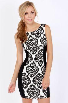 Ikat-ching Black and White Print Dress at LuLus.com!