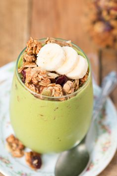 Protein Green Smoothie Granola Parfait ohsweetbasil.com