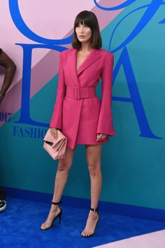 Bella Hadid looked stunning in this off-white pink blazer dress at the CFDA awards this evening Pink Fashion, New Fashion, Fashion Outfits, Womens Fashion, Fashion Ideas, Street Fashion, Pink Outfits, Dress Outfits, Celebrity Red Carpet