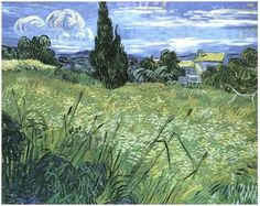 Green Wheat Field with Cypress by Vincent Van Gogh Painting, Oil on Canvas  Saint-Rémy, France: June - mid month, 1889 http://www.vangoghgallery.com/catalog/Painting/180/Green-Wheat-Field-with-Cypress.html